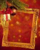 Gold Antique Frame, Abstract Bokeh Background