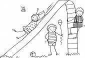 Doodle of children playing