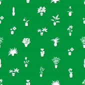 home houseplants and flowers in pot green pattern eps10