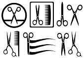 stock photo of hair cutting  - set scissors icons with comb for hair salon - JPG
