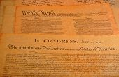 pic of preamble  - Declaration of independence and the Preamble to the Constitution in the background - JPG