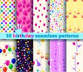 Ten Birthday Seamless Pattern. Eps10