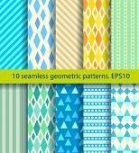 Ten Seamless Pattern. Eps10, No Gradients