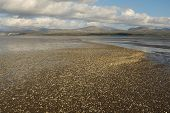 stock photo of cockle shell  - An estuary with a beach of cockle shells leading to mountains in the distance - JPG