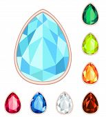 Amber, Citrine, Ruby, Diamond, Sapphire, Emerald Teardrop Gemstone Set