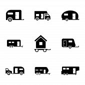 stock photo of trailer park  - Vector black trailer icons set on white background - JPG