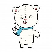 cartoon waving polar bear cub with scarf