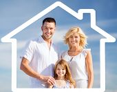 home, happiness and real estate concept - happy family over blue sky background and house shaped ill