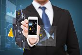 business, internet and technology concept - businessman showing smartphone with virtual screen