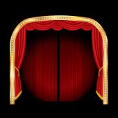 vector stage with red curtain and golden frame