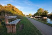 Bench Alongside A Canal Towpath In Autumn