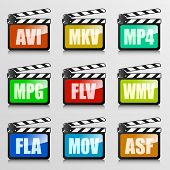 detailed illustration of a set of clapper boards with video codec extensions, eps10 vector