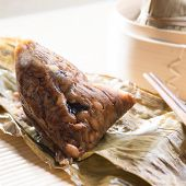 Unwrapped rice dumpling or zongzi. Traditional steamed sticky glutinous rice dumplings. Chinese food dim sum. Asian cuisine.