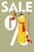 Sale Design Template.yellow Party Dress And High Heeled Shoes