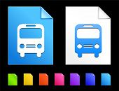 Bus Icons on Colorful Paper Document Collection