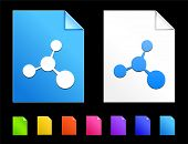 Molecule Icons on Colorful Paper Document Collection