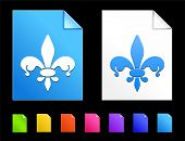 Fleur De Lis Icons on Colorful Paper Document Collection