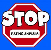 image of octagon  - An octagonal Stop sign in red and white with eating animals caption on a blue background - JPG