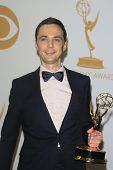LOS ANGELES - SEP 22: Jim Parsons in the press room during the 65th Annual Primetime Emmy Awards hel