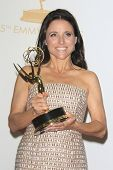 LOS ANGELES - SEP 22: Julia Louis Dreyfus in the press room during the 65th Annual Primetime Emmy Aw