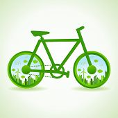 Go green concept - Eco cityscape in bicycle  stock vector