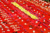 Red Holy Week Carpet With Flowers