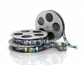 3d film reel copy isolated on white background