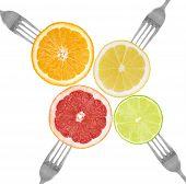 Citrus Fruit On Forks Lime, Orange, Grapefruit, Lemon
