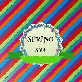 picture of shaky  - spring sale colorful vector background and ribbon - JPG