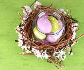 Composition with Easter eggs and blooming branches in glass jar and decorative nest, on  color woode