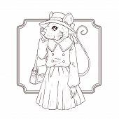 picture of fancy mouse  - retro fashion hand draw vector illustration of mouse black and white line - JPG