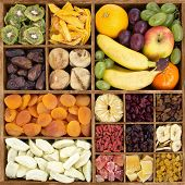 stock photo of plum fruit  - Dry fruits with fresh fruits in a wood box - JPG