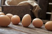 Organic Eggs On Wood
