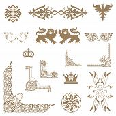 Vector Set Of Decorative Floral Elements.