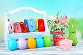 picture of ear candle  - Composition with funny handmade Easter rabbits - JPG