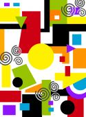 image of geometric shapes  - A vivid geometric abstract painting done with stencils in primary colors - JPG