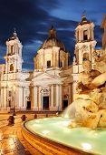 Rome, Fountain In Piazza Navona.