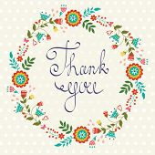 Thank you card with floral wreath