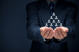 foto of human pyramid  - Human resources corporate hierarchy and multilevel marketing concept - JPG