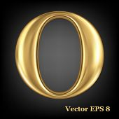 Golden shining metallic 3D symbol capital letter O - uppercase, vector EPS8