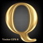 Golden shining metallic 3D symbol capital letter Q - uppercase, vector EPS8