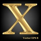 Golden shining metallic 3D symbol capital letter X - uppercase, vector EPS8