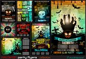 stock photo of halloween  - Halloween Party Flyer with creepy colorful elements with a black portion of background for your text - JPG