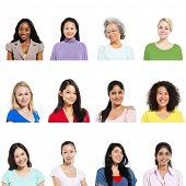 Multi-ethnic female portraits on white backgrounds.