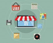 Laptop as online store - Mobile shopping concept vector with flat icon set