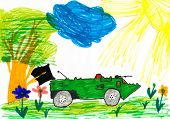 Military tank in the meadow. child drawing.