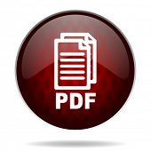 pdf red glossy web icon on white background,