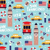 Seamless san francisco bay area travel icons illustration usa background pattern in vector