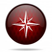 compass red glossy web icon on white background