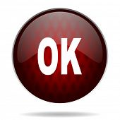 ok red glossy web icon on white background